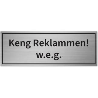 HANKO Luxembourg - Plaque - Keng Reklammen! w.e.g. - Argent